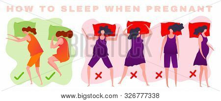 How To Sleep When Pregnant. Different Sleeping Positions. Good Night Concept. Modern Icons In A Flat