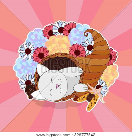 Cute Cartoon Cat Lay In Rich Cornucopia With Flowers Background, Happy Thanksgiving Day Or Easter Gr