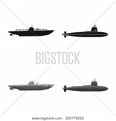 Vector Illustration Of War And Ship Icon. Set Of War And Fleet Stock Symbol For Web.
