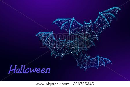 Halloween 3d Dark Bats Modern Concept. Geek Holiday Party Scary Flyer. Low Poly Geometric Polygon Tr