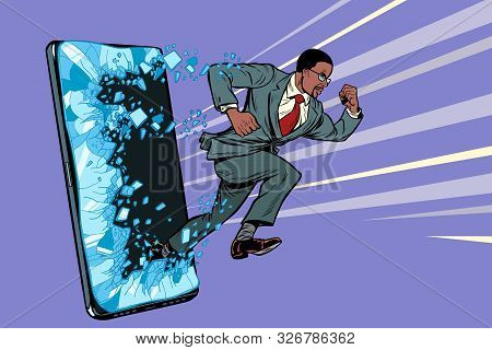 African Businessman Punches The Screen Phone Gadget Smartphone. Online Internet Application Service