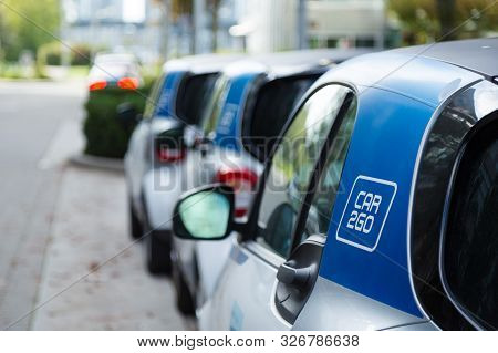 Vancouver, Bc, Canada - Sept 21, 2019: A Row Of Car2go Smartcars In Vancouvers Olympic Village Which