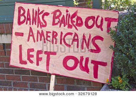Bank Bail Out Protest Sign