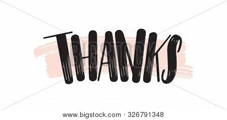 Thank You Creative Lettering. Gratitude Brushstroke Handwritten Expression Vector Phrase On Pink. Th
