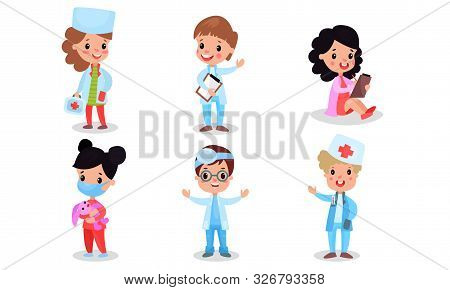Children In Costumes Of A Nurse, Veterinarian, Optometrist, Therapist And Other Medical Professions