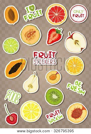 Set Of Colorful Sti Kers With Fruits And Phrases