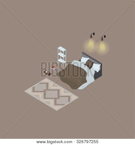 Set Of Isometric Elements For The Bedroom. A Double Bed With A Bedspread, A Carpet, A Bookcase, Lamp