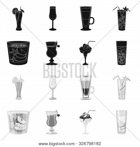 Vector Design Of Liquor And Restaurant Symbol. Set Of Liquor And Ingredient Vector Icon For Stock.