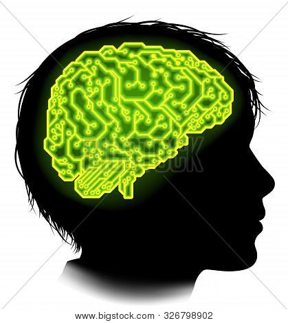 Silhouette Of A Young Boy Child With A Brain Made Up Of Electrical Circuits Or A Circuit Board
