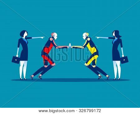 Proxy War. Competition Robot Technology. Concept Business Technology Vector Illustration, Flat Busin