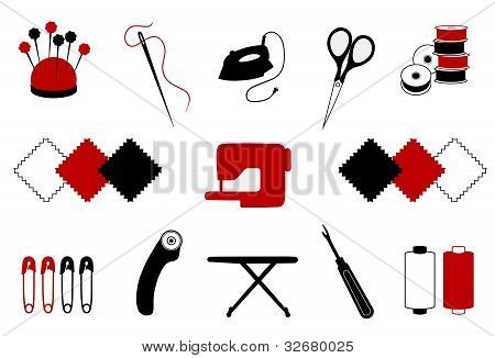 Tools and supplies for quilting, patchwork, stitchery, appliquй, sewing, do it yourself projects.: poster