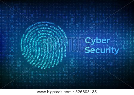 Fingerprint Made With Binary Code. Biometrics Identification And Approval. Password Control Through
