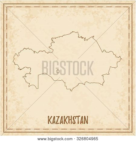 Pirate Map Of Kazakhstan. Blank Vector Map Of The Country. Vector Illustration.