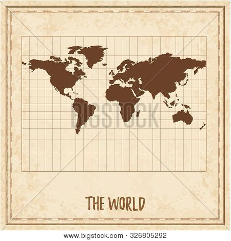 Old World Map. Miller Cylindrical Projection. Medieval Style Treasure Map. Ancient Land Navigation A