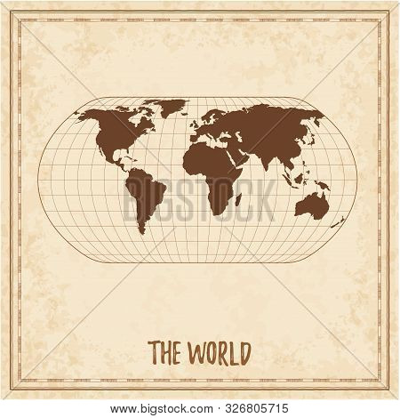 Old World Map. Natural Earth Projection. Medieval Style Treasure Map. Ancient Land Navigation Atlas.