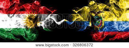 Kurdistan Vs Ecuador, Ecuadorian Smoke Flags Placed Side By Side. Thick Colored Silky Smoke Flags Of