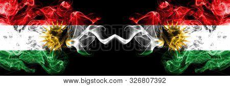 Kurdistan Vs Kurdistan, Kurdish Smoke Flags Placed Side By Side. Thick Colored Silky Smoke Flags Of