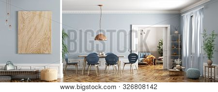 Modern Interior Design Of Apartment, Dining Room With Table And Chairs, Living Room With Sofa, Hall,