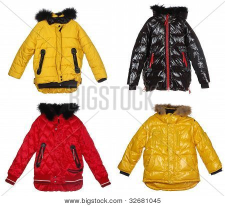 Collection Of Winter Jackets Isolated On White