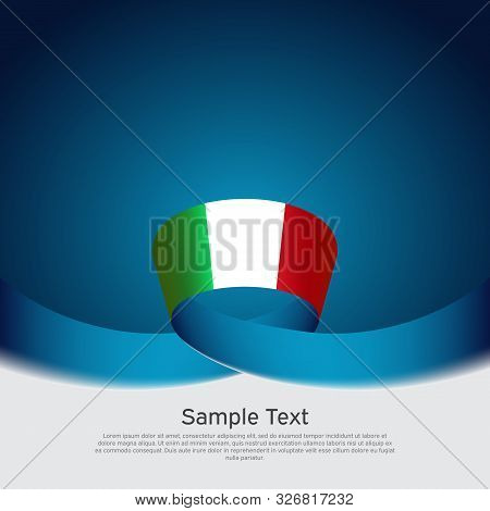 Italy Flag Background. Wavy Ribbon Color Flag Of Italy On A Blue White Background. National Poster.
