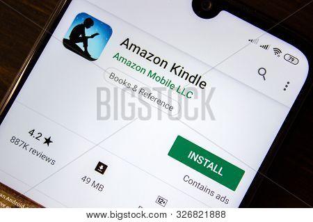 Ivanovsk, Russia - July 21, 2019: Amazon Kindle App On The Display Of Smartphone