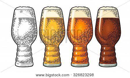 Beer Classics Ipa Glas. Vintage Color Vector Engraving Illustration.