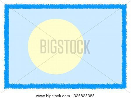 Border made with Palau national flag. Brush stroke frame. Template elements for your certificate and diploma. Horizontal orientation. poster