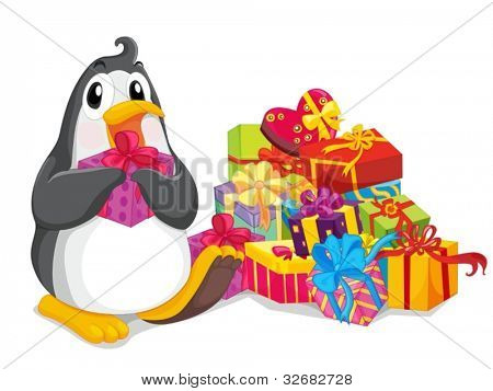 Penguin sitting with christmas presents
