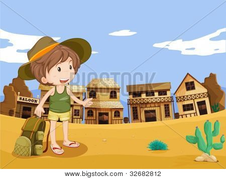 Illustration of boy in wild west town