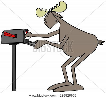 Illustration Of A Bull Moose Putting A Stamped Letter In A Rural Mailbox.