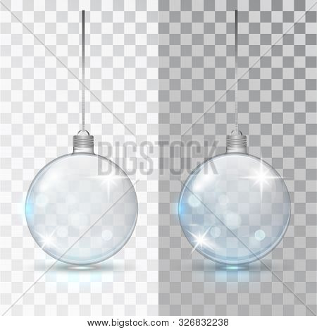 Glass Transparent Christmas Ball. Xmas Glass Bauble On Transparent Background. Holiday Decoration Te
