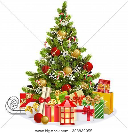 Vector Christmas Fir Tree With Lollipops Isolated On White Background