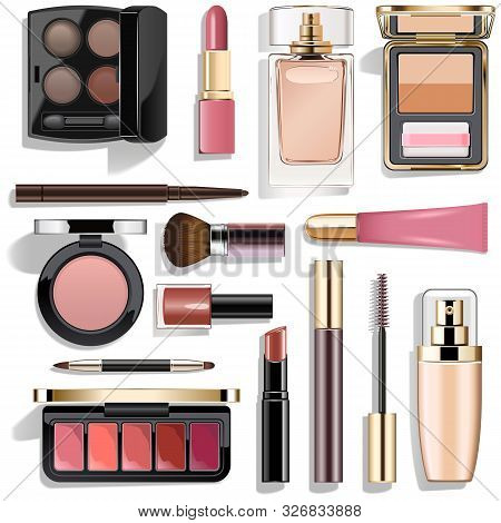 Vector Mauve Makeup Collection Isolated On White Background