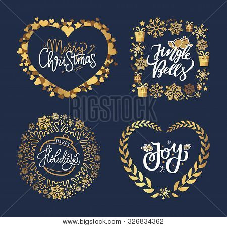 Holly Jolly, Merry Christmas, New Year, Happy Holidays And Warm Wishes, Cookies For Santa Lettering