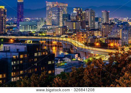 Fukuoka tower sunset twilight with downtown cityscape in Fukuoka city Kyushu South of Japan