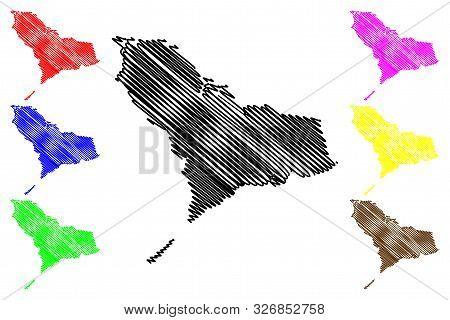 Western Area (republic Of Sierra Leone, Salone, Sherbro Island) Map Vector Illustration, Scribble Sk
