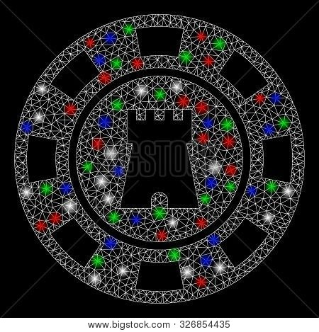 Bright Mesh Bulwark Casino Chip With Lightspot Effect. White Wire Frame Polygonal Network In Vector