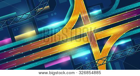 Transport Interchange In Night Neon City Top View. Urban Futuristic Infrastructure In Vibrant Colors
