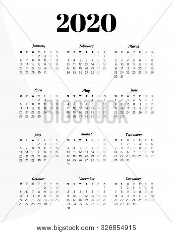 Calendar 2020 Year. Black And White Vector Template. Basic Grid. Pocket Square Calender. Ready Desig