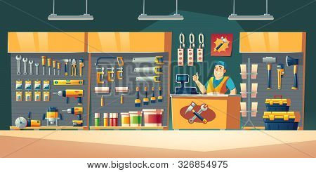 Tools Store, Hardware Construction Shop Interior With Salesman Stand On Counter Desk Showing Thumb U