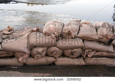 Flood Sandbags And Water