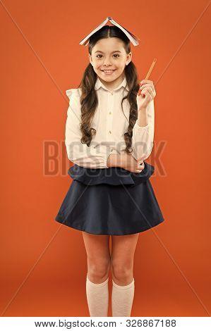 Genius Against Ignorance. Genius Little Schoolchild Got A Bright Idea On Orange Background. Small Gi