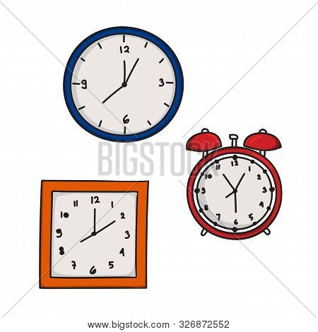 Vector Design Collection Of Wall Clocks And Alarm Clocks Isolated White Background. Alarm Clock Logo