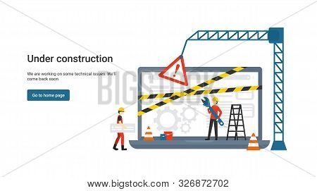 Flat Concept Site Under Construction For Web Page, Banner, Presentation, Social Media, Documents. We