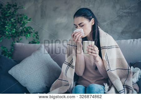 Photo Of Suffering Lady With Cup And Napkin Caught Cold Drinking Medicine From Flu Covered With Blan