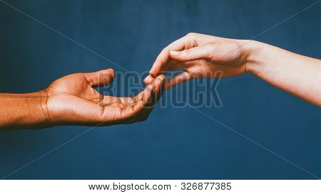 Romantic International Relationship. Love Care Harmony. Interracial Couple Gentle Fingertip Touch.