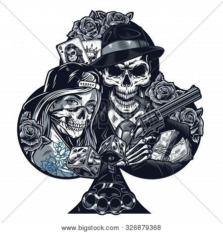 Vintage Chicano Tattoo Template With Girl In Scary Mask Gangster Skeleton Holding Revolver Dice Bras
