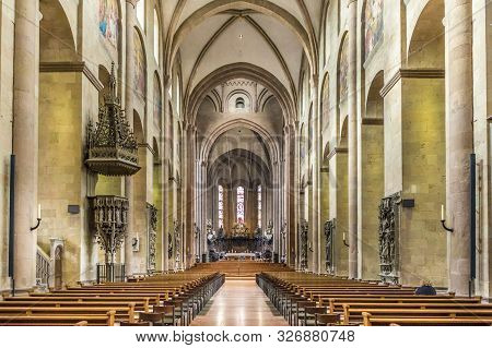 Mainz, Germany - Mar 2, 2017: Panoramic Inside View Of The  Dom Cathedral In Mainz. It  Has A Blend