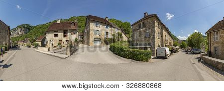Baume Les Messieurs, France - June 15, 2017: Panoramic View Of Small Village Baume Les Messieurs In