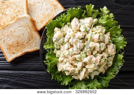 Southern Chicken Salad With Celery, Eggs And Green Onions With Toast Close-up On A Plate. Horizontal